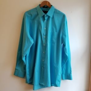 Aqua blue button down dress shirt